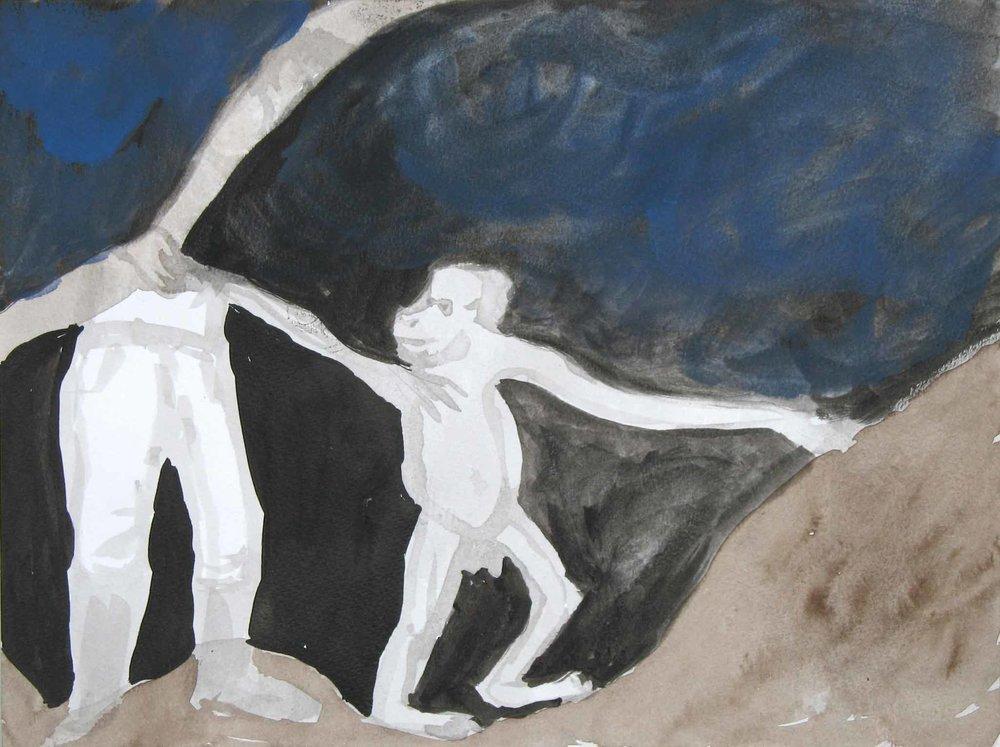 Uit de serie  Zo gaan dingen (That's the way the cookie crumbles)  gouache, aquarel, inkt 24 x 34 cm, 2007-2009