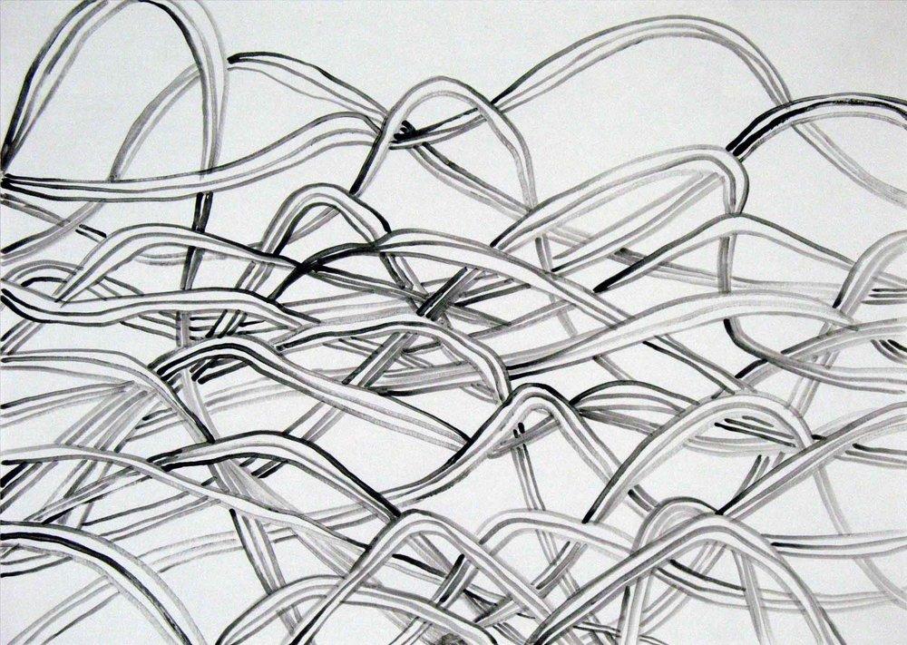 Uit de serie  Departures  gouache 29 x 42 cm, 2011