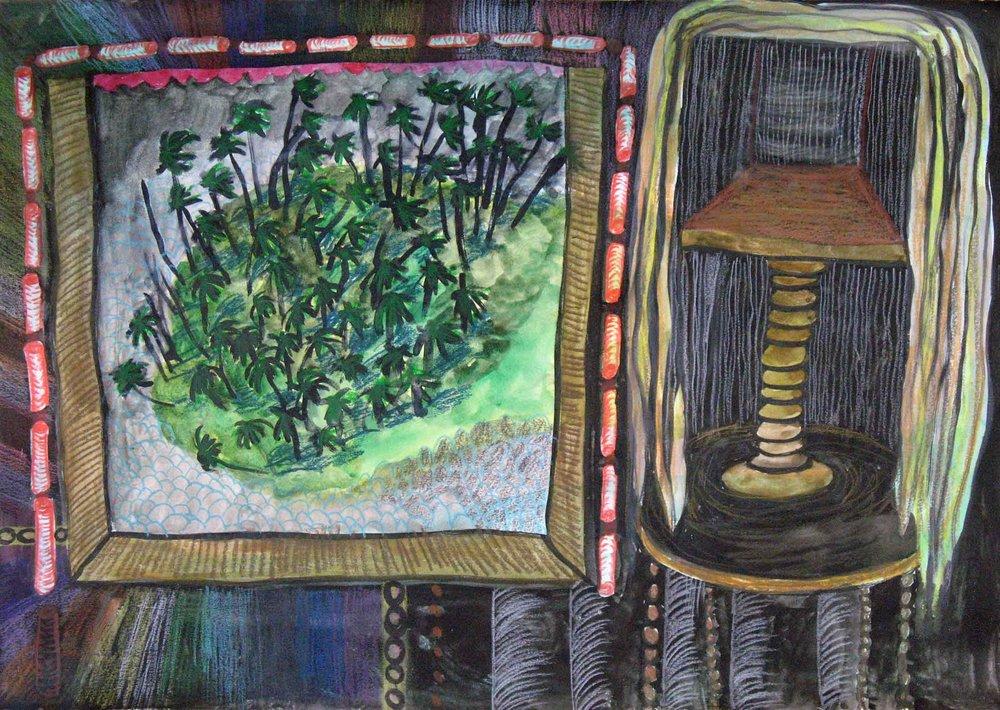 Uit de serie  Departures  potlood, gouache, inkt 29 x 42 cm, 2011
