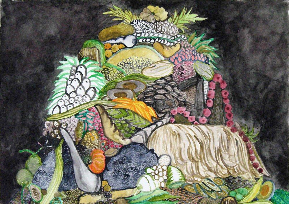 Uit de serie  Departures  gouache, aquarel, inkt 29 x 42 cm, 2011, privécollectie