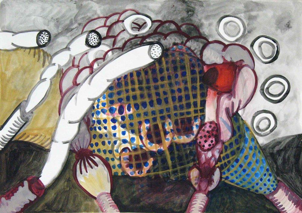 Uit de serie  Departures  gouache, aquarel 29 x 42 cm, 2011