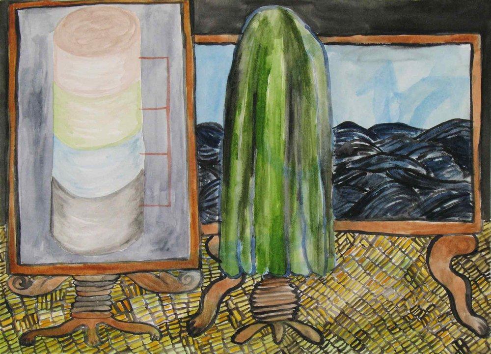 Uit de serie  Departures  gouache, aquarel 24 x 32 cm, 2010