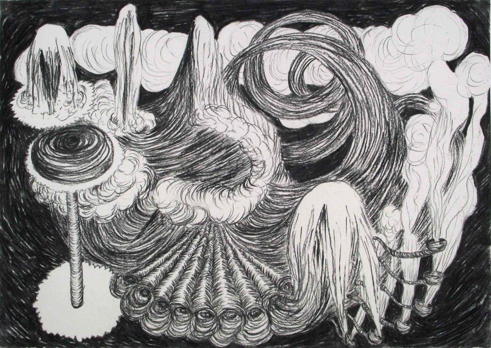 Geen titel (Untitled)  houtskool 42 x 65 cm, 2011