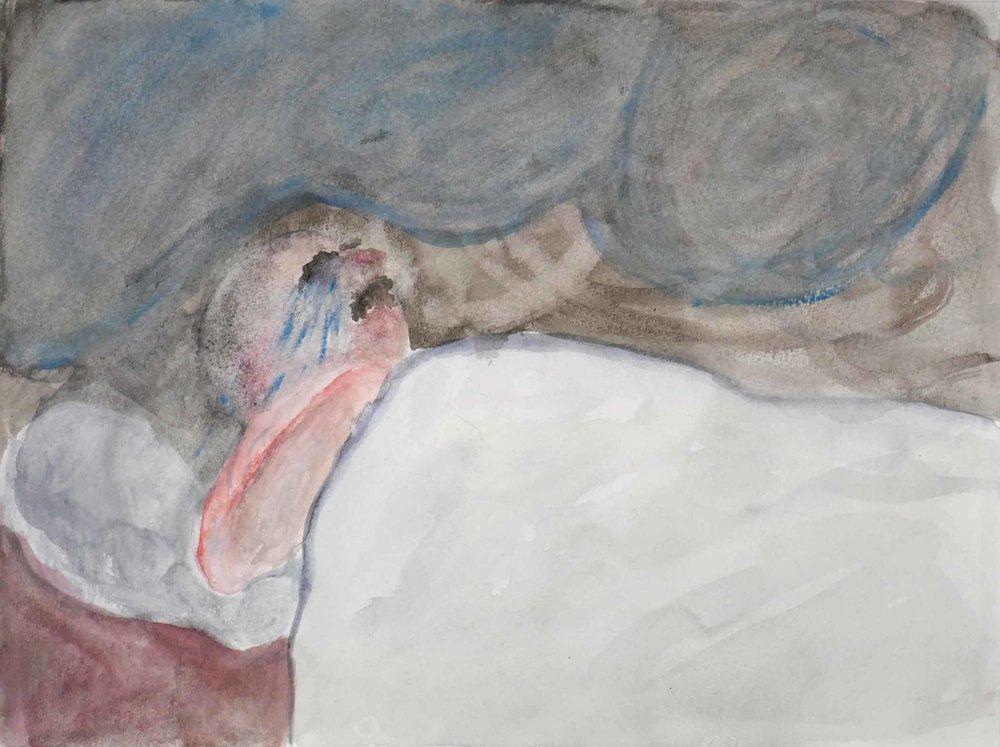 Uit de serie  Zo gaan dingen (That's the way the cookie crumbles)  inkt, aquarel 24 x 32 cm, 2007-2009