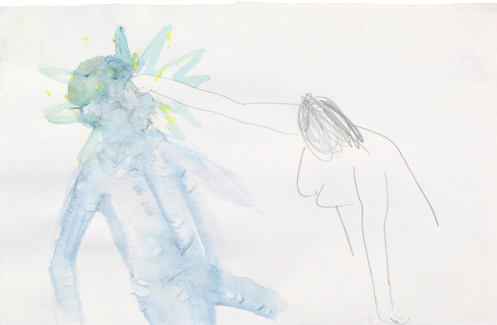 Uit de serie  The Loveboat  aquarel, potlood 14 x 23 cm, 2007-2009