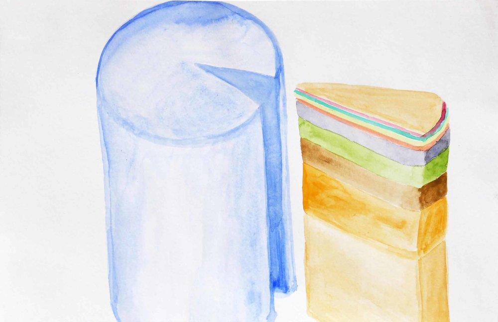 Uit de serie  Zo gaan dingen (That's the way the cookie crumbles)  aquarel 16 x 25 cm, 2007-2009