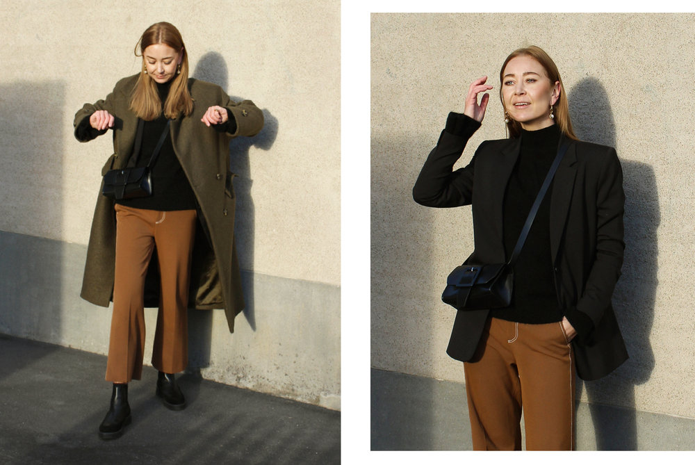 coat    H&M    blazer    & OTHER STORIES    knit    & OTHER STORIES    pants   ZARA (   SMILAR   )    bag    & OTHER STORIES    boots    & OTHER STORIES