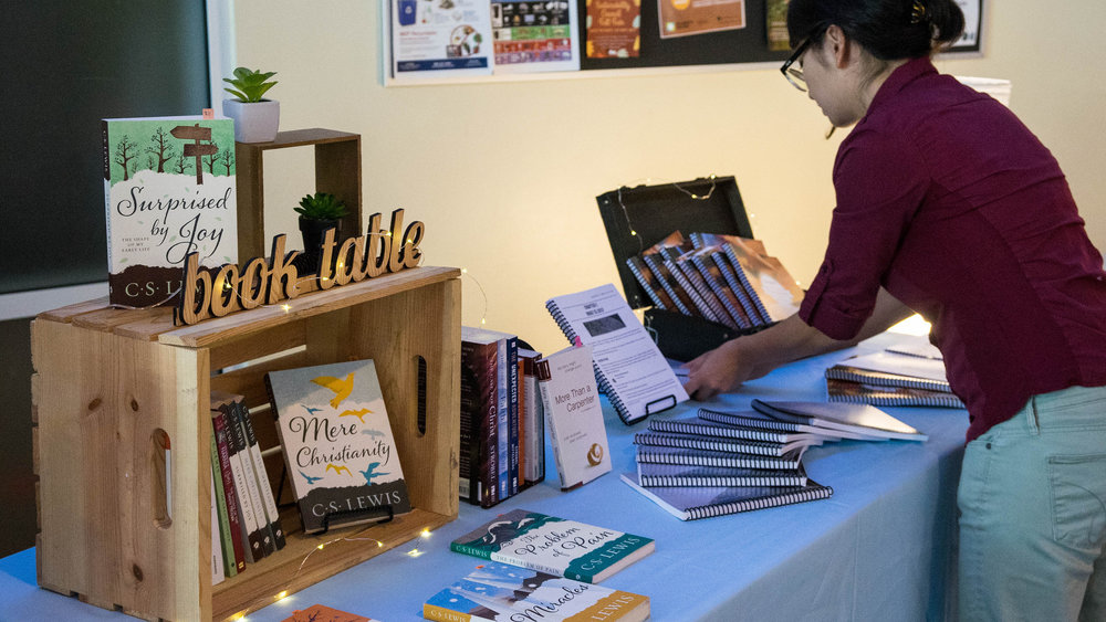 Booktable, books, and bibles