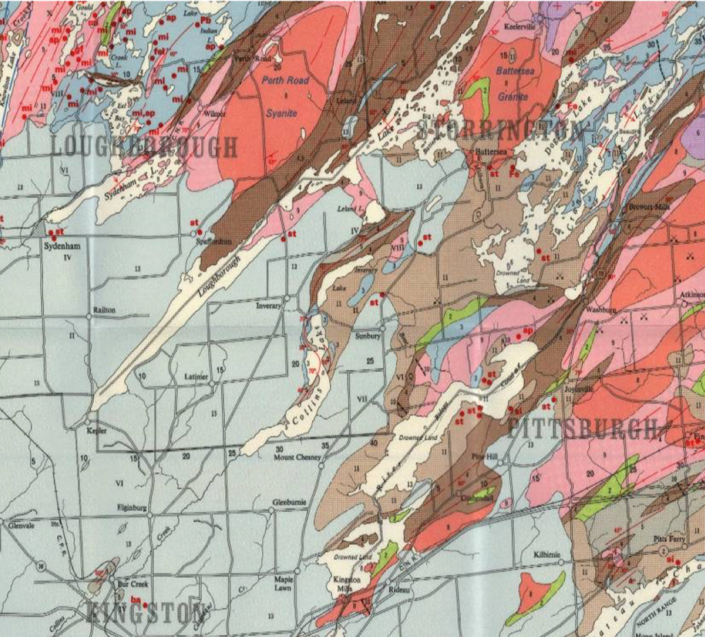 Figure 1. Geology at the edge of the Precambrian Shield (from D.F. Hewitt, 1964; Ontario Geological Survey Map 2054). Limestone is pale blue (or pale grey in black and white, map unit 13). The lake valley orientations are parallel to the local structural trend of folds and faults shown by the red lines.