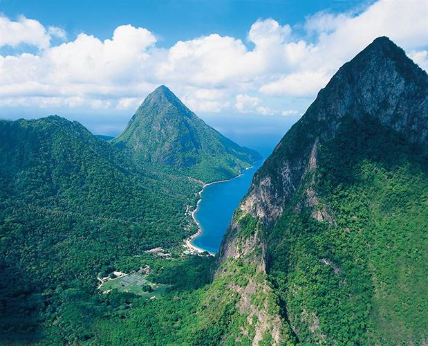 St. Lucia Sugar Beach Aerial View