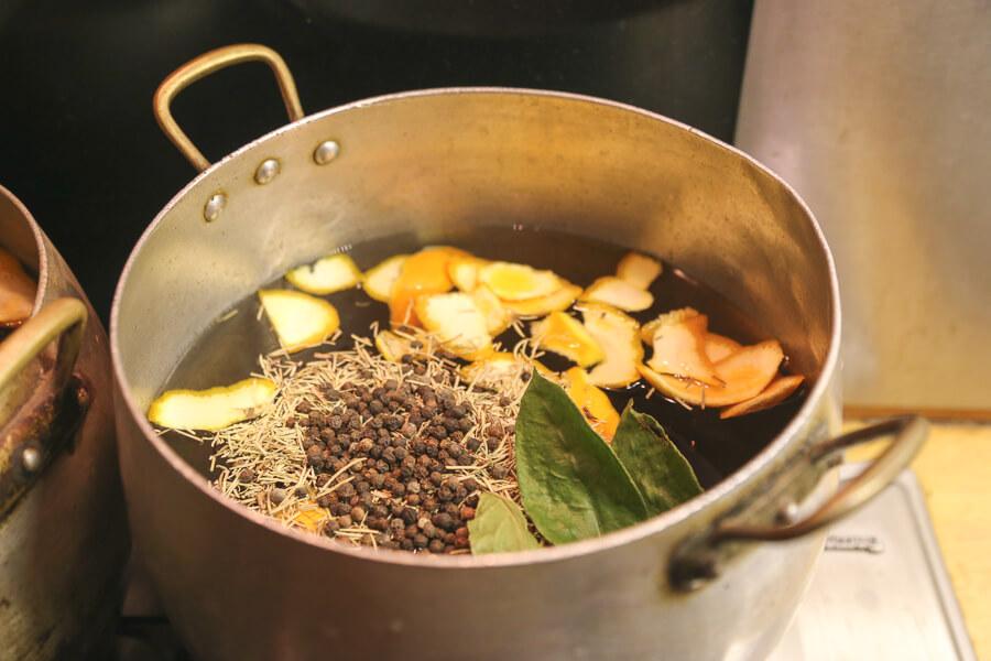 Preparing our turkey brine