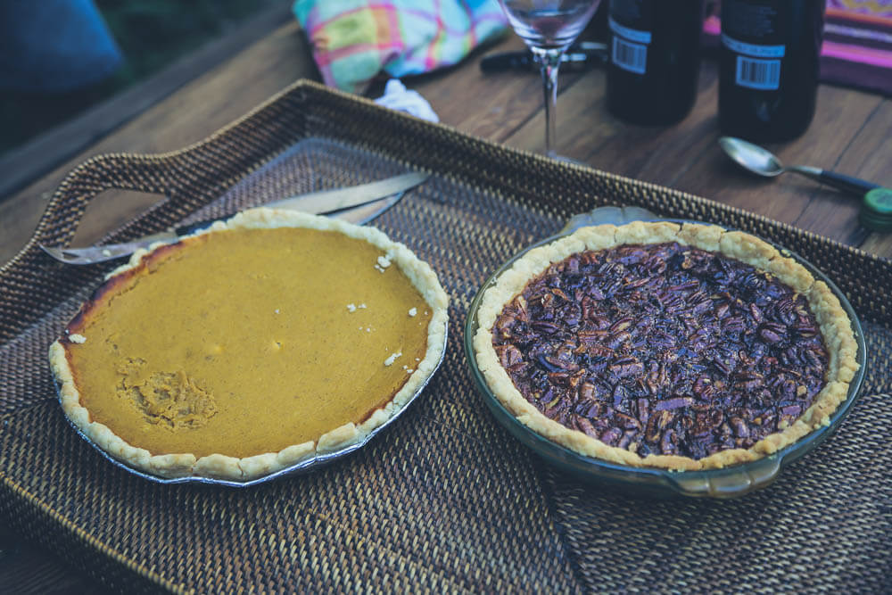 Homemade pumpkin and pecan pies in Argentina