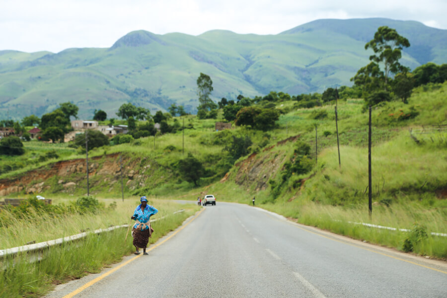 Green hills on the highway in Swaziland