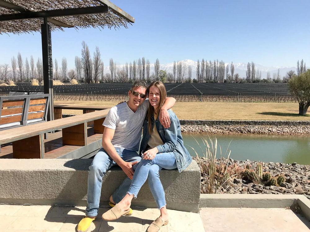 Sitting outside at the Melipal vineyard Mendoza