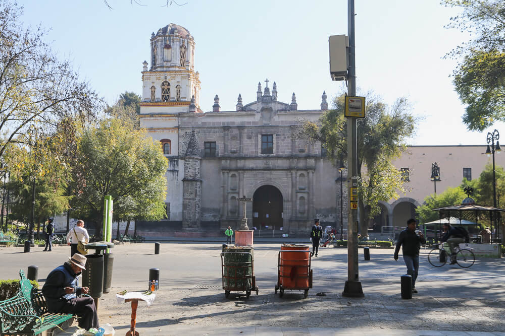 The main square in coyoacan Mexico City