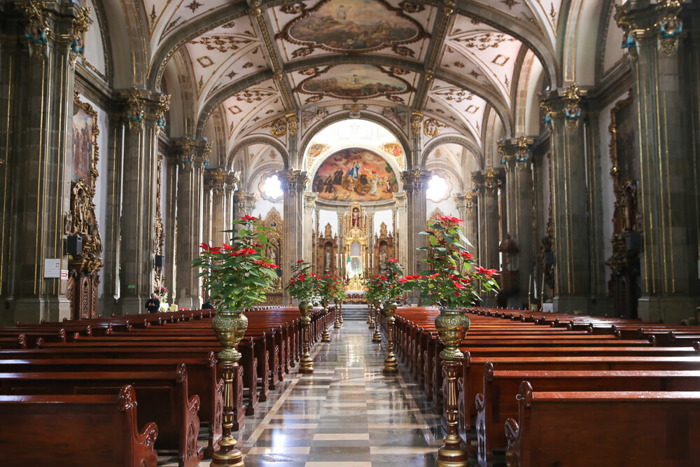 Inside the Cathedral in Coyoacan Mexico City