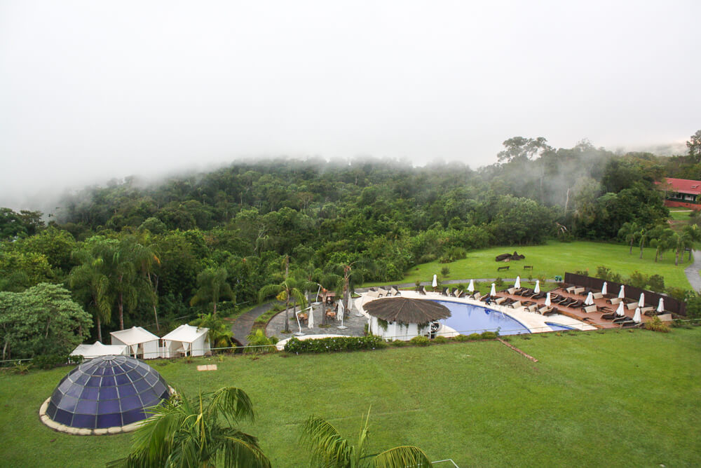 The pool and morning fog at the Melia Hotel in Iguazu
