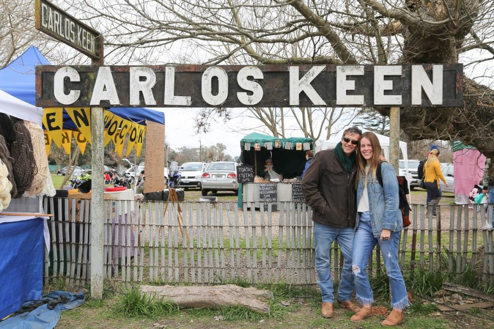 Standing under the Carlos Keen railway sign
