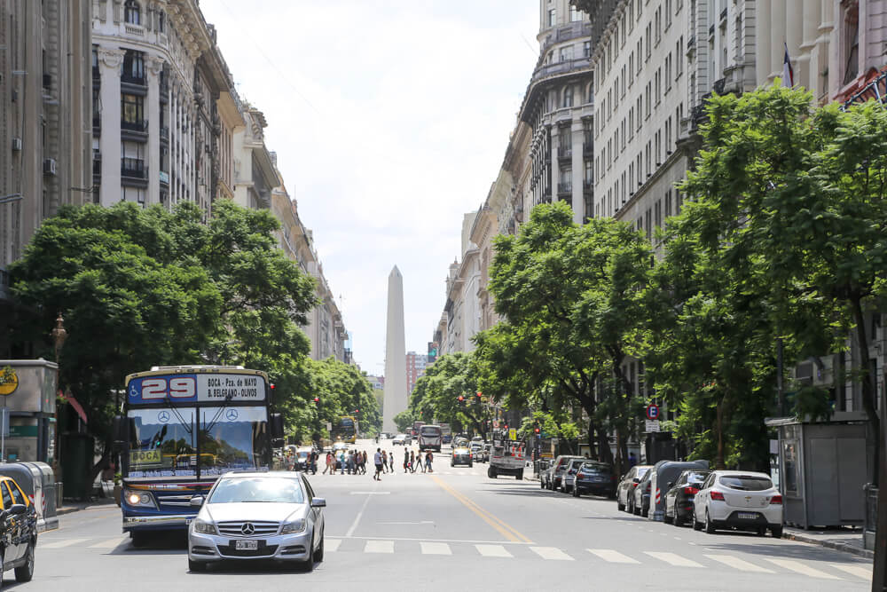 View down Avenida Diagonal Norte from plaza de mayo