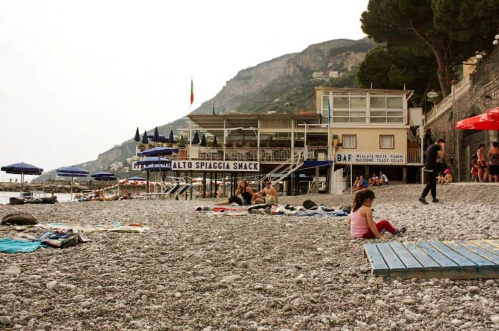 The beach in Amalfi town in Italy