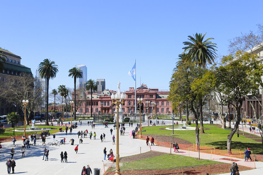 The Plaza de Mayo in downtown Buenos Aires with a view of the Casa Rosada