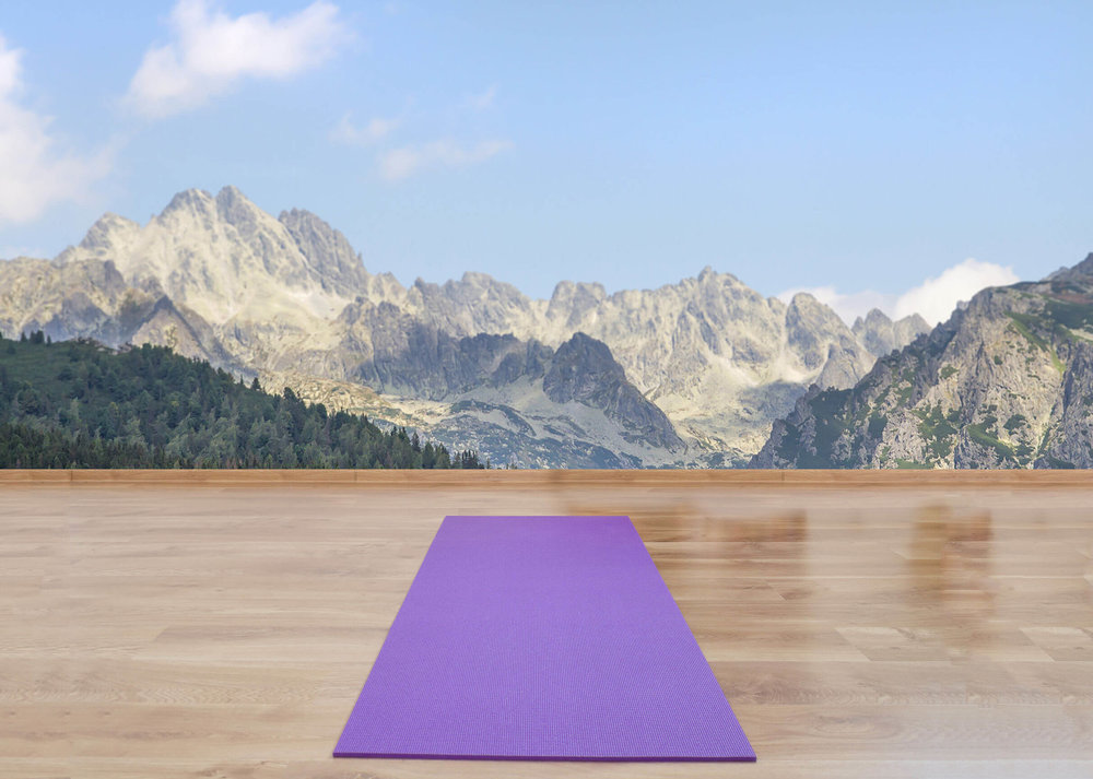A travel yoga mat on a deck in front of snow covered mountains
