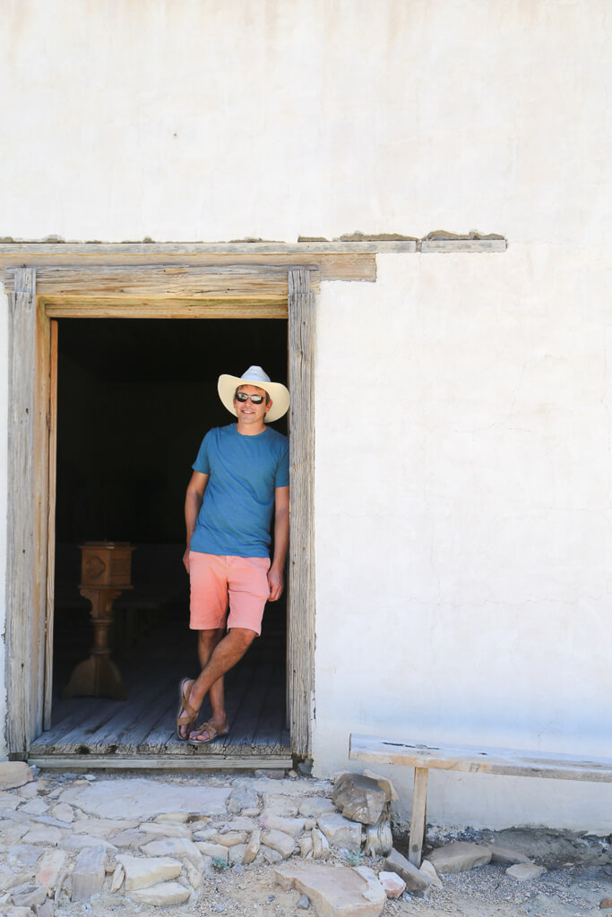 Visiting the historic church in the Terlingua Ghost Town