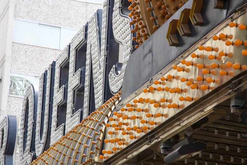 Orange Golden neon sign in Las Vegas on Fremont Street