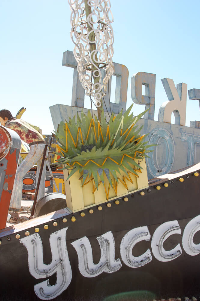 A neon sign graveyard in downtown Las Vegas