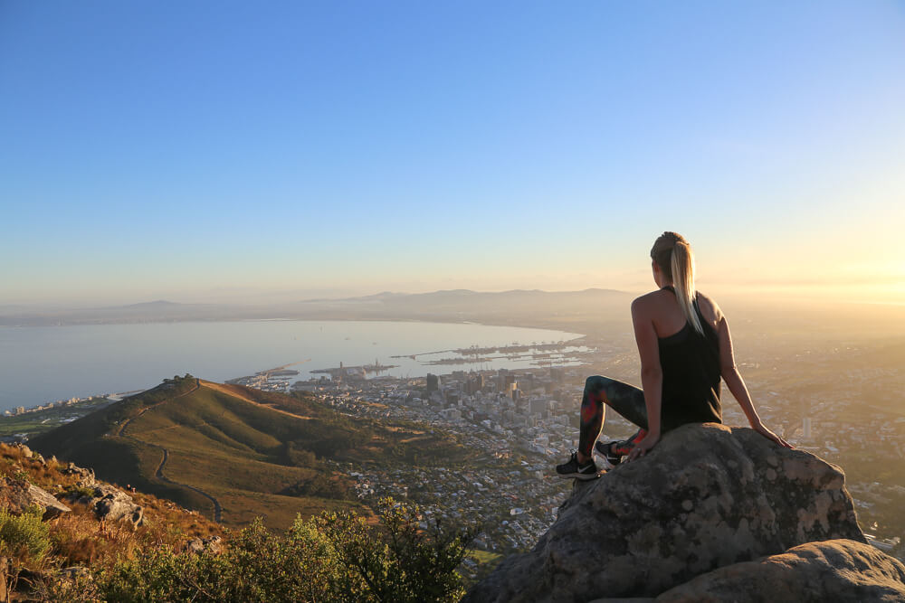 Watching the sunrise Lion's Head over cape town