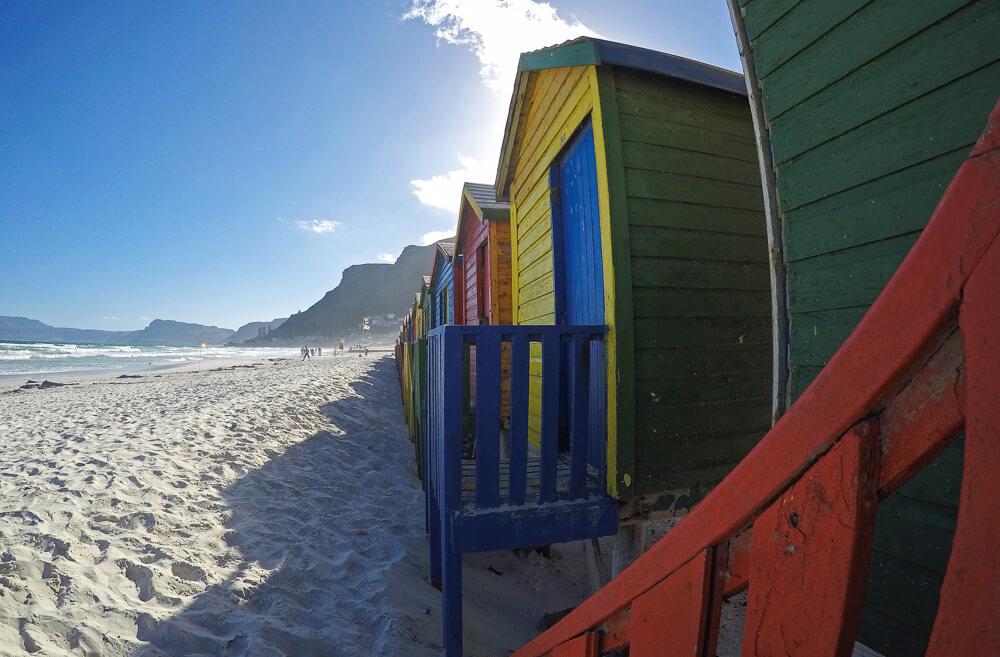 The beautiful colored beach huts at Muizenburg Beach
