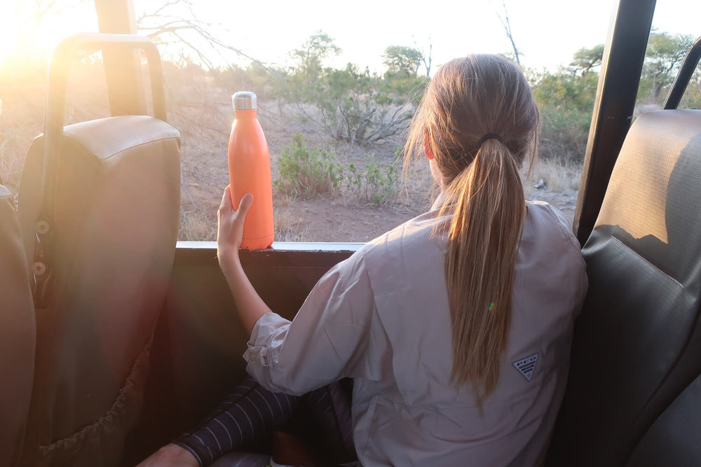 There's an entire bottle of chilled Chenin Blanc in that S'Well bottle for a romantic sunset game drive.