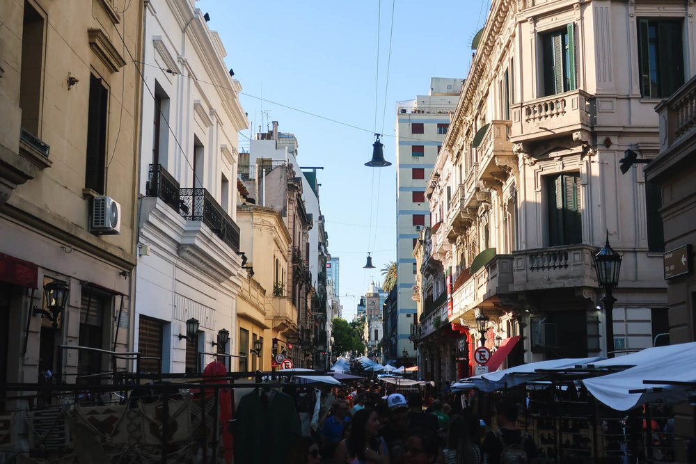 The cobblestone streets of the San Telmo Market in Buenos Aires