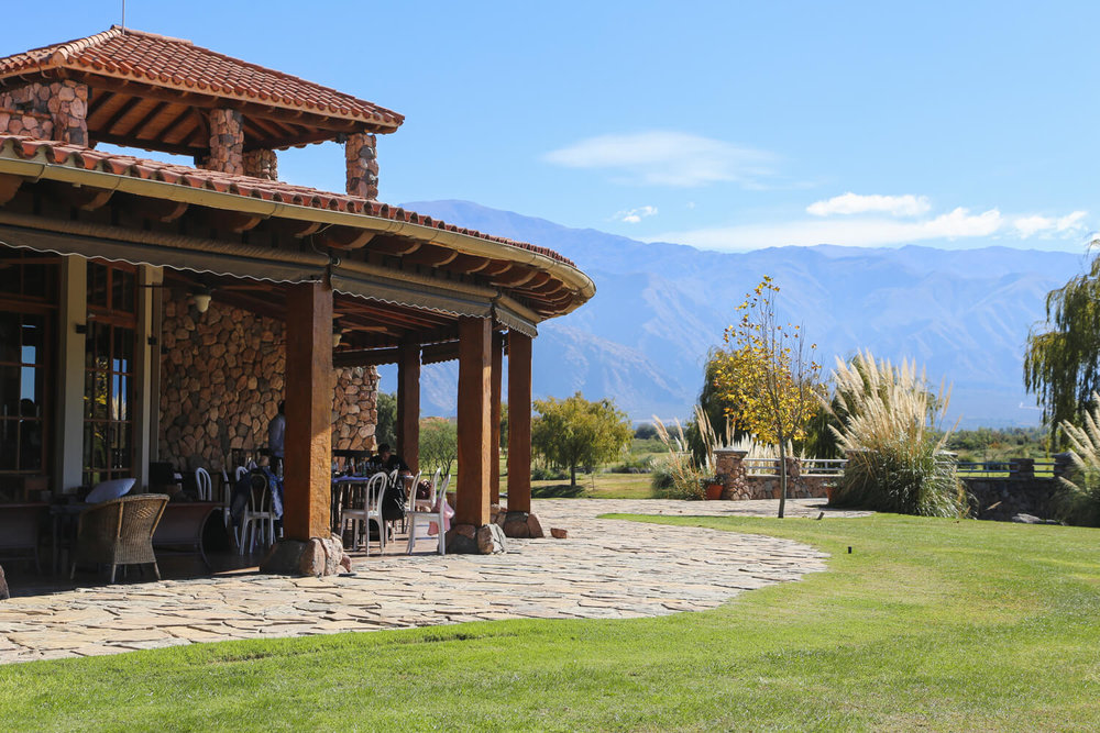 The outdoor patio of the Grace Cafayate Clubhouse