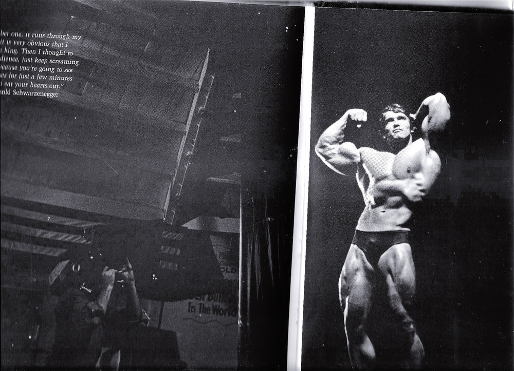 I'm in the dark lower left during early filming for PUMPING IRON. Arnold was newly arrived in America, still with a strong accent, but very calm, confident, and friendly.