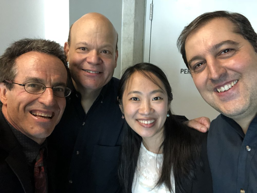 Bruce Stark, Don Lucas, Ling Leng and Joao Luis Areais in Iowa for the U.S. premiere of  Suite for Two Tenor Trombones and Piano