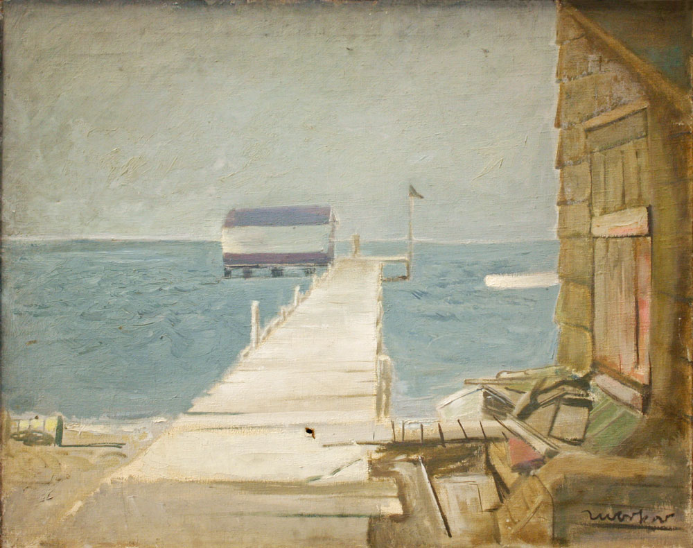 The Pier  , 1925, Oil on canvas, 24 x 30 in. (61 x 76.2 cm) Collection of the Yellowstone Art Museum. Gift of Elinor Poindexter (1979.021) CR827