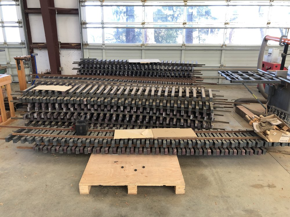 Fabricated track panel storage