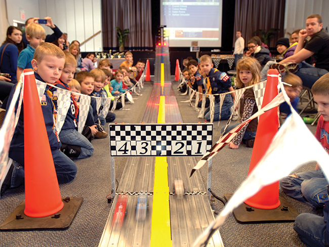 Pinewood Derby - Scouts build their very own gravity powered car from the official BSA Pinewood Derby Kit, and race against each other for a chance at racing glory.Click here for our dedicated Derby page.