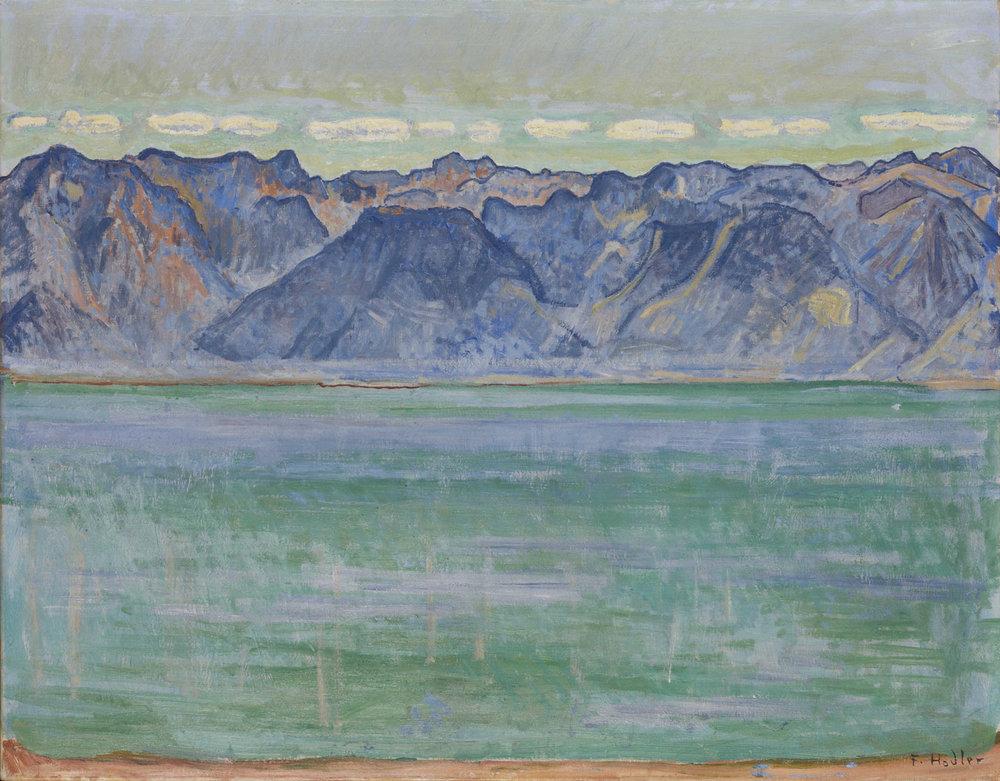 """Ferdinand Hodler, """"Genfersee mit Blick auf die Savoyer Berge"""", um 1905"""
