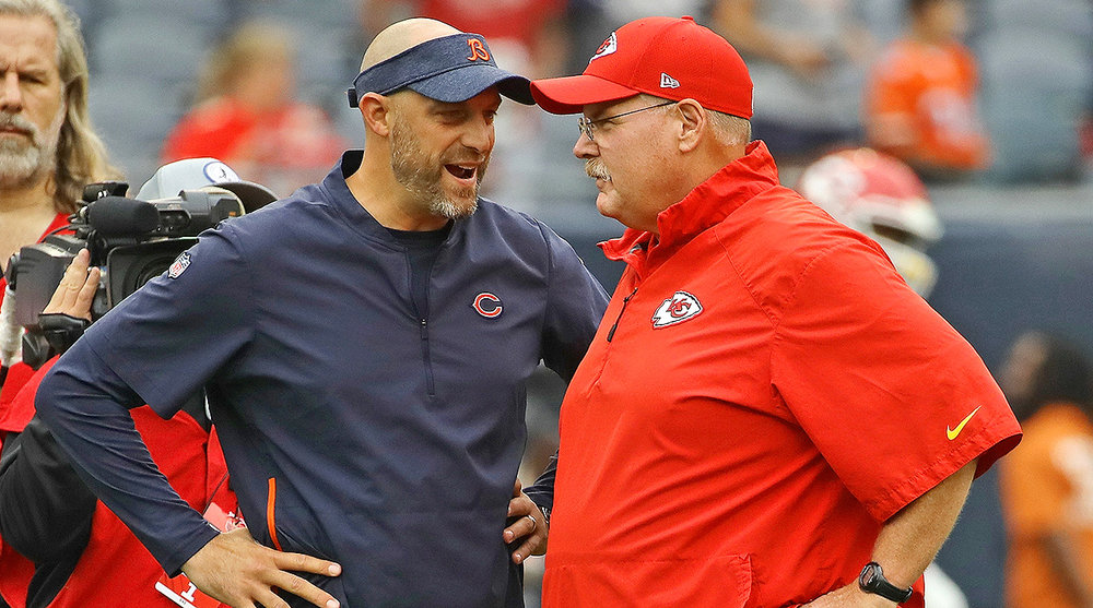 Matt Nagy (left) and Andy Reid (right)