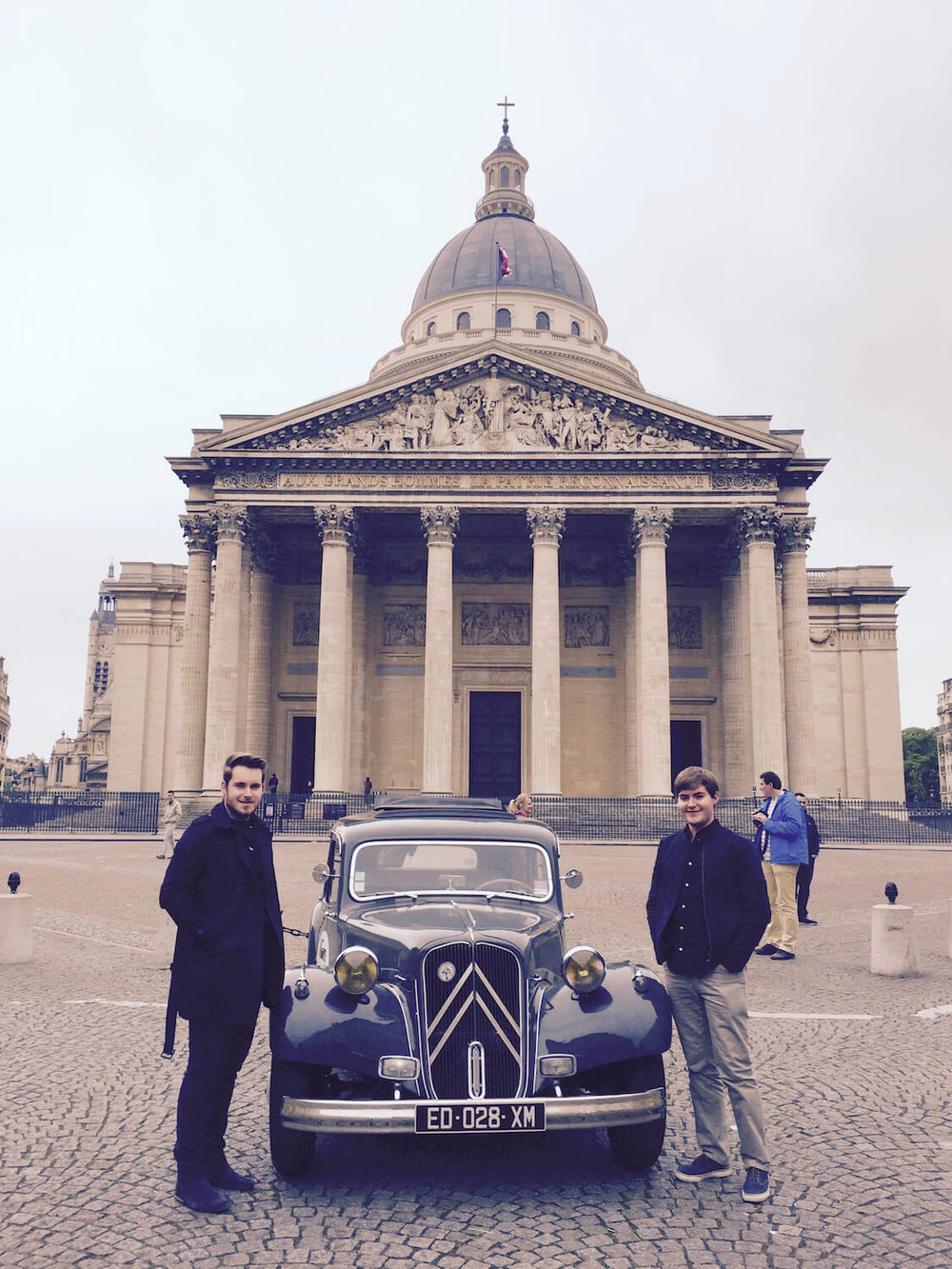 City Wheels Paris Tour - Our Departure Board - Andrew and damon with a vintage citroen Traction avant