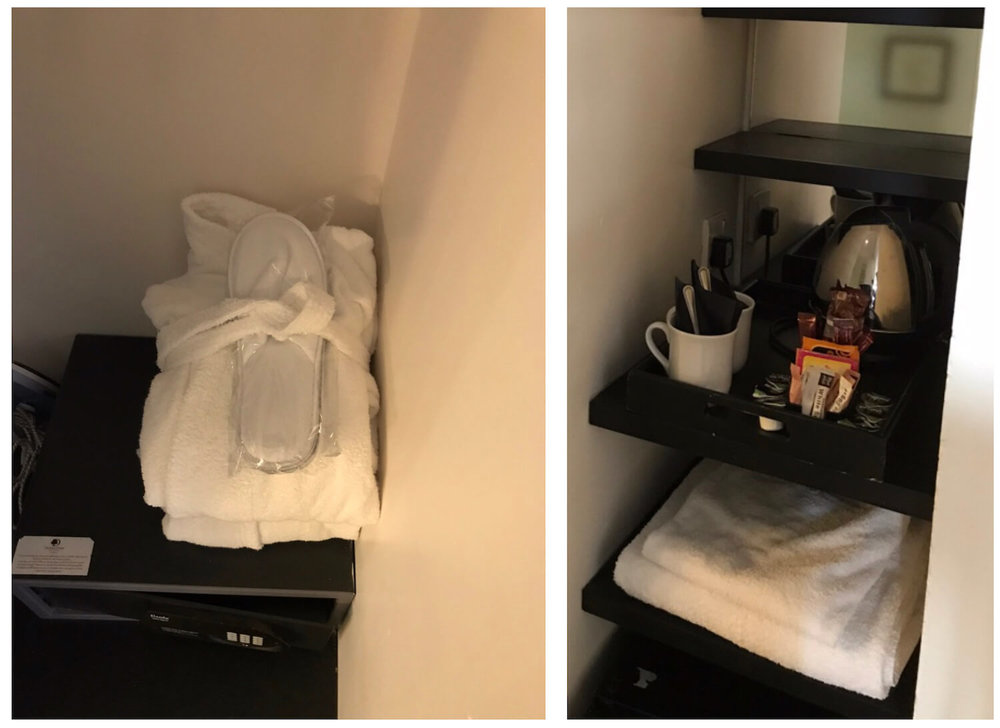DoubleTree Dundee Amenities: Safe, Slippers & Dressing Gown, Tea/Coffee