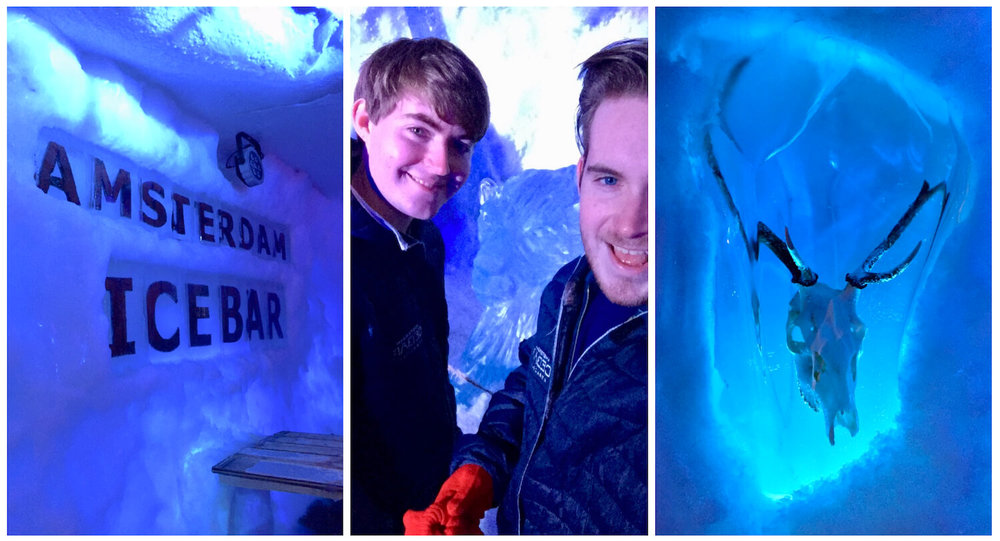 Xtracold Icebar Amsterdam Collage with Damon and Andrew - Wearing red gloves and thermal jacket