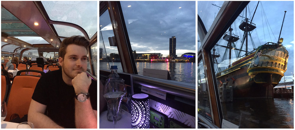 Lovers Cruise - Window Table - Damon looking at the view of the canals