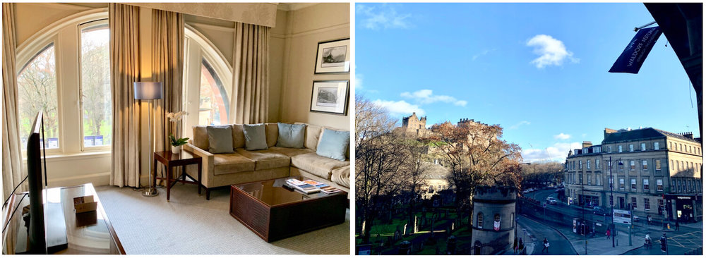 Waldorf Astoria Edinburgh - One Bedroom Suite - Arched windows and view of the castle