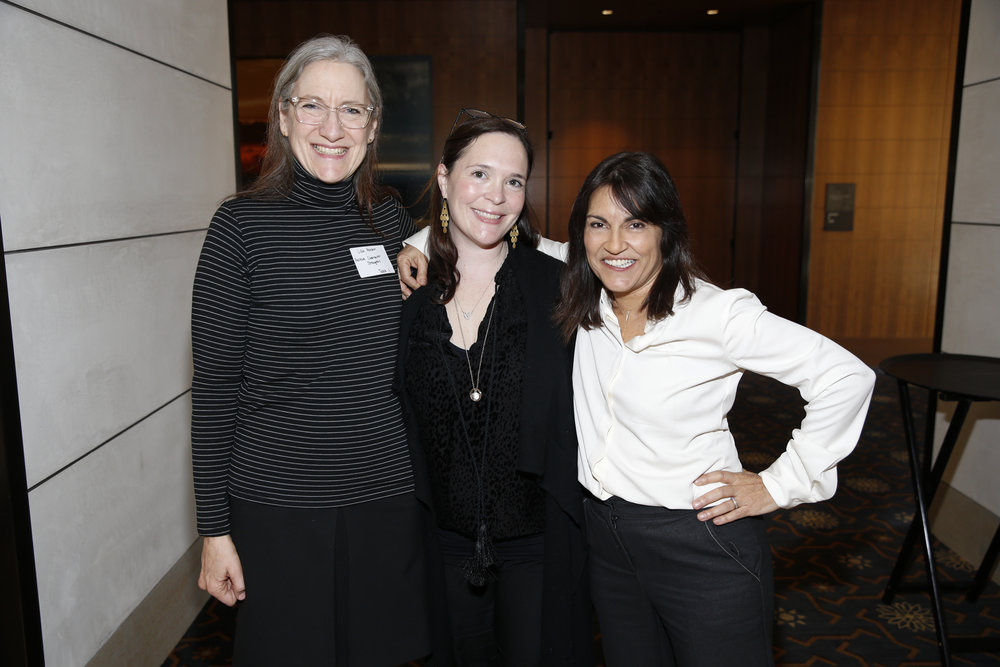 And the day starts! CEO and President of the Jim Henson Company Lisa Henson (left), President of TriStar Productions Hannah Minghella (center), and Founder and Executive Director of CSS Yalda T. Uhls (right)
