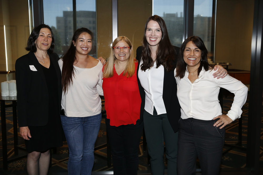 Chief Administrative Officer of CSS Louise Zeitzew (left), Project Coordinator of CSS Caroline Fung(center left), Co-Director of CSS Kim Wilson (center), Co-Director Colleen Russo Johnson (center right), Founder and Executive Director of CSS Yalda T. Uhls (right)