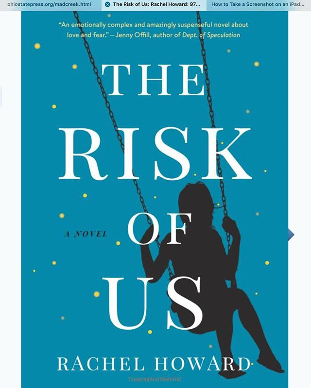 """I woke up at 4 am to finish Rachel Howard's gripping debut novel, """"The Risk of Us."""" Anyone who has been a parent, fostered children, or watched as families weather joy and trauma will want to read this book. I was lucky to have Rachel as a writing teacher several years ago, and it's a treat to enter this story. For locals, she used to teach at WWC and also sang in the choir at All Souls!"""