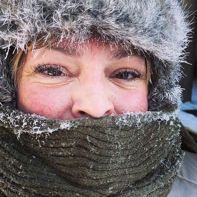 -29 degrees on the way to breakfast, so cold my eyelashes had icicles! #thisisminnesota #boldnorth #ely #dunord #girlsweekend #getoutside #somanylayers